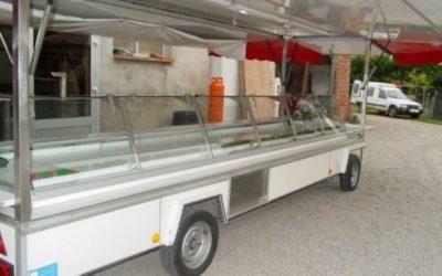 Remorque réfrigérée avec toit et auvents 2 essieux, 7 mètres