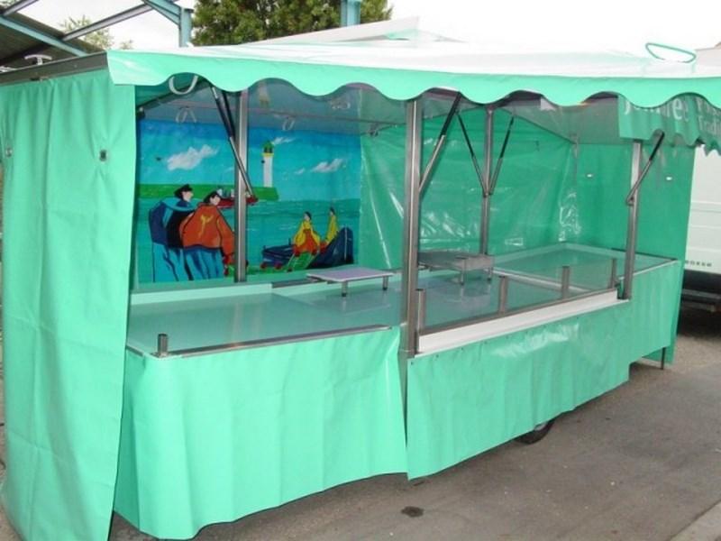 Remorque poisson avec toit et auvents 1 essieu, 2 mètres
