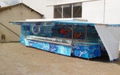 Remorque poisson avec toit et auvents 2 essieux, 5 mètres