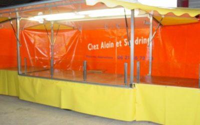 Remorque traiteur avec toit et auvents 1 essieu, 4 mètres