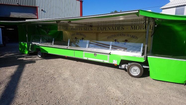 Remorque olives avec toit et auvents 2 essieux, 6 mètres